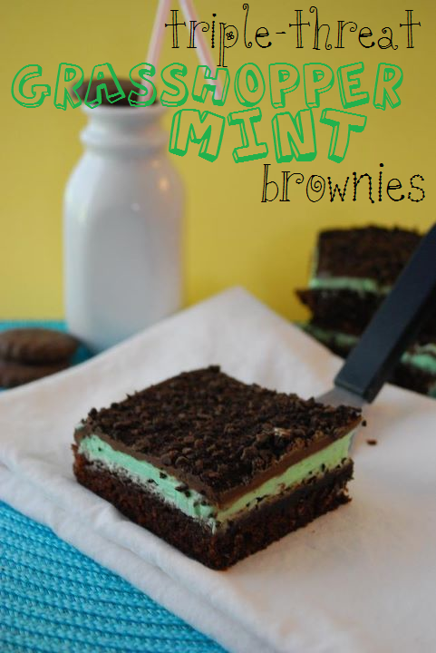 Triple-Threat Grasshopper Mint Brownies | The Domestic Rebel