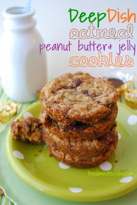 Deep Dish Oatmeal Peanut Butter & Jelly Cookies | The Domestic Rebel