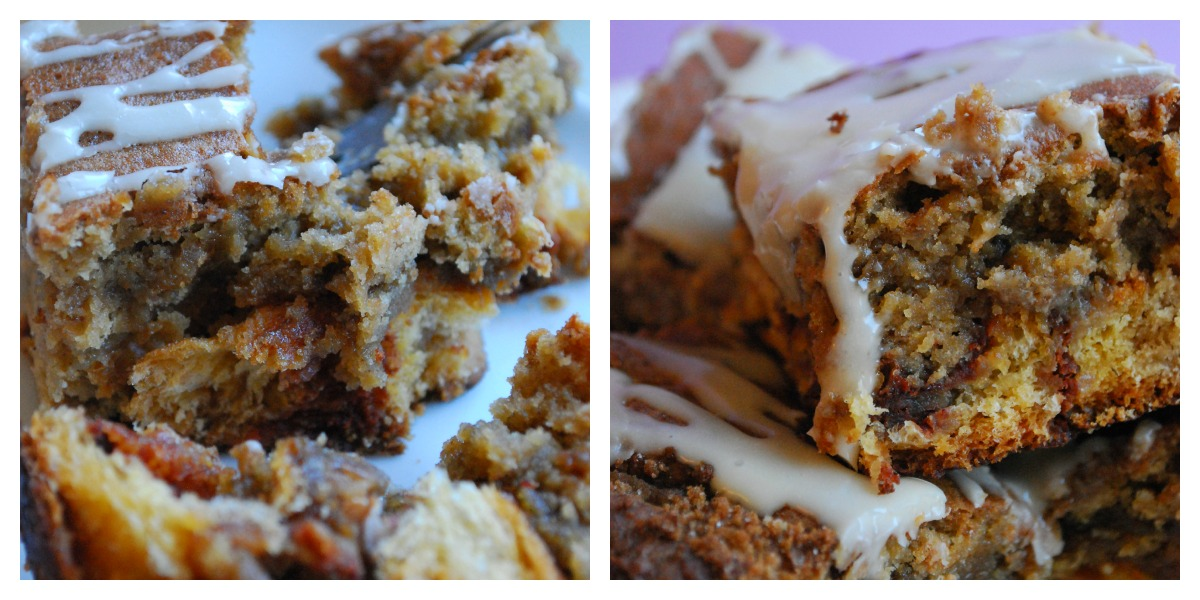 Cinnamon roll stuffed blondies topped with white icing.